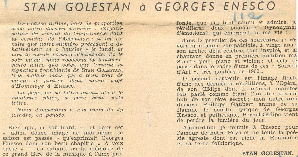 Omagiu adus de Stan Golestan lui George Enescu