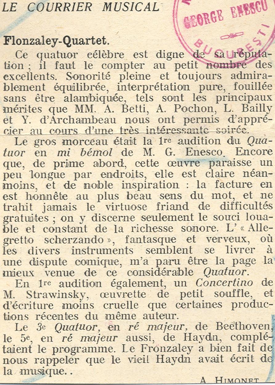Cvartetul op. 22 nr. 1 de George Enescu - prima audiţie franceză