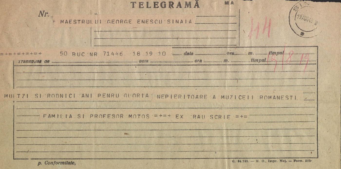 Fig. 2 – Telegramă trimisă de C. Motaș și familia lui George Enescu, 19 aug. 1946