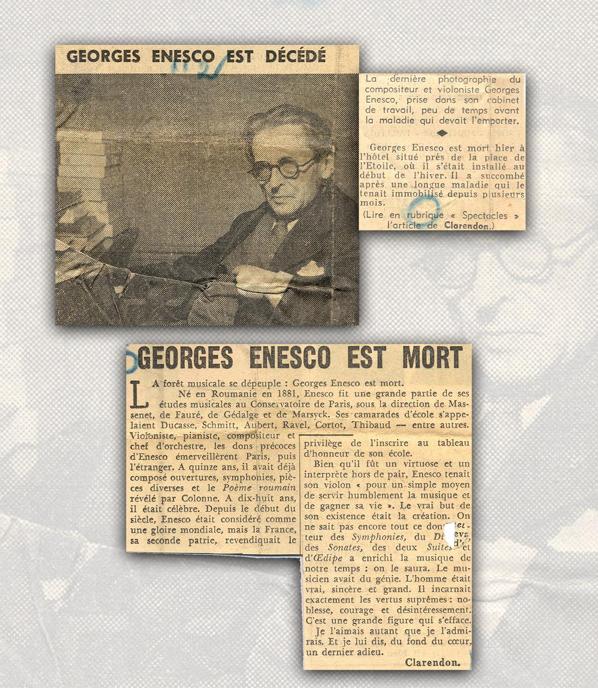65 de ani de la moartea lui George Enescu
