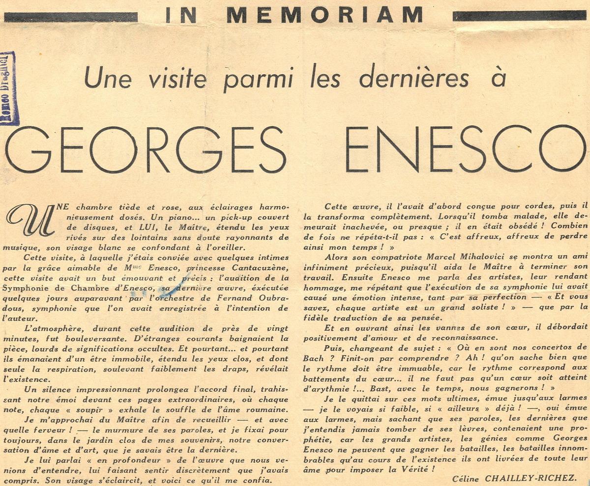 Una dintre ultimele vizite la George Enescu - pianista Céliny Chailley-Richez -