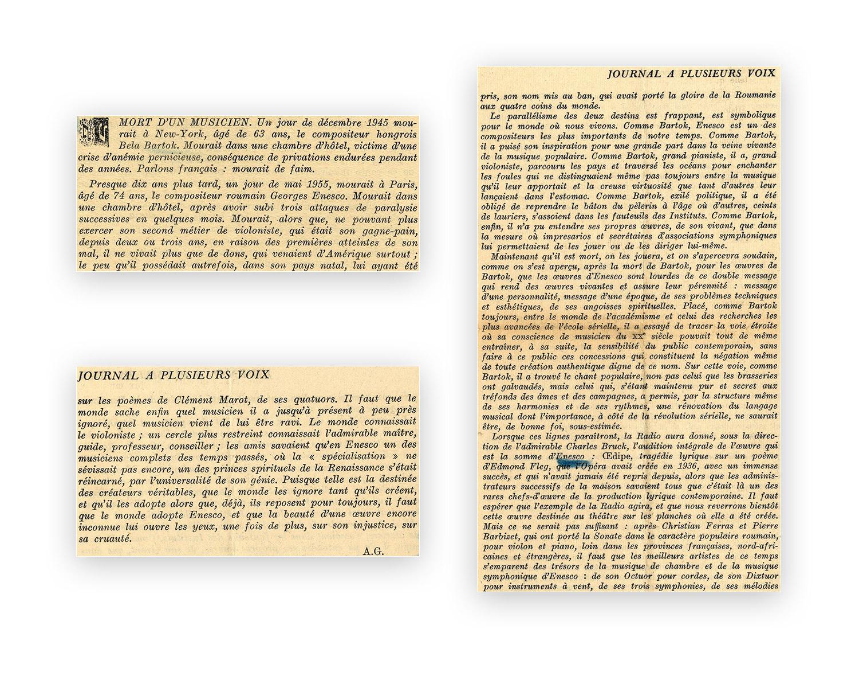 George Enescu şi Béla Bartók - «paralelismul dintre cele două destine»