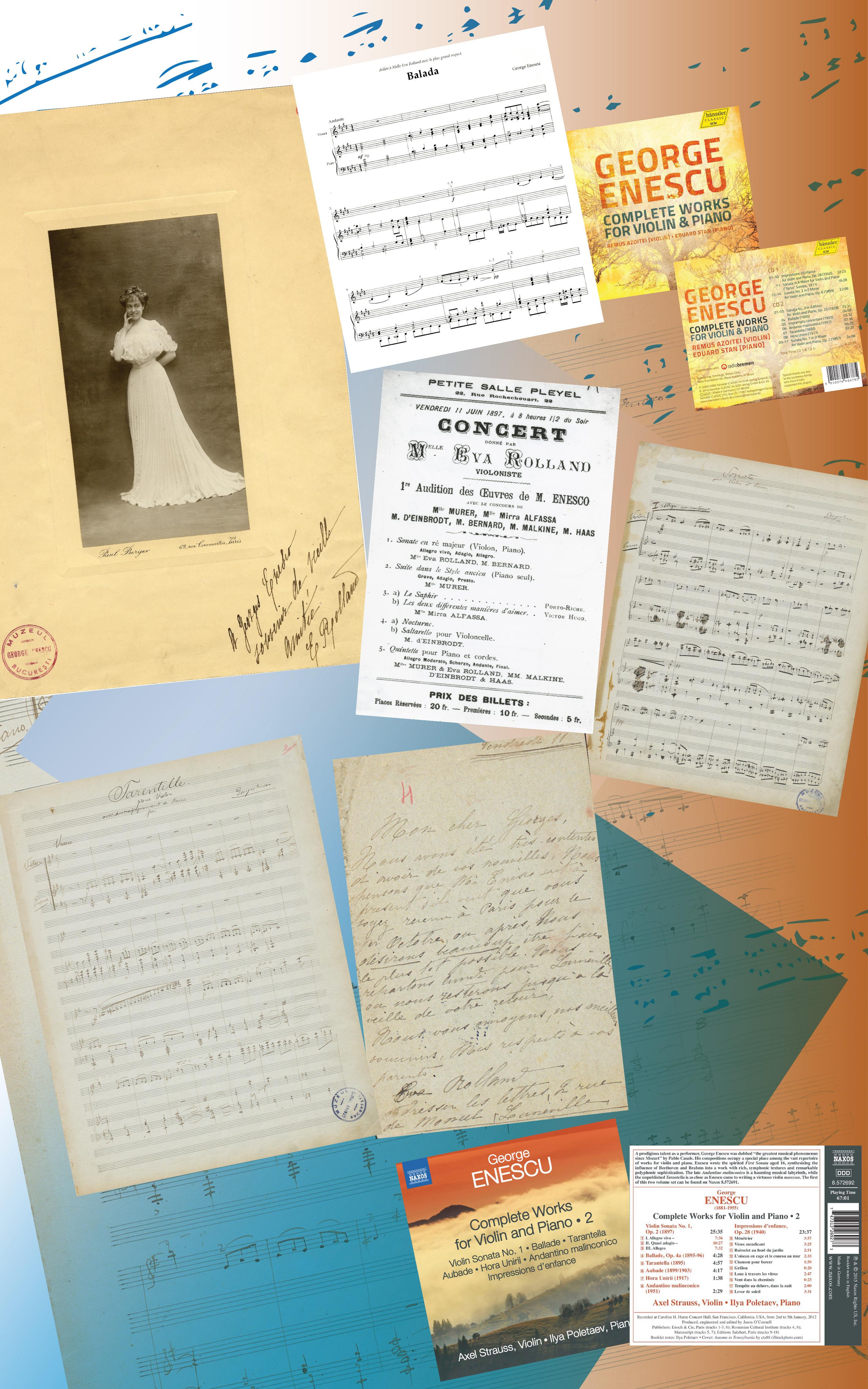 Lucrări pentru vioară și  pian dedicate Evei Rolland: <em>Baladă pentru vioară și pian </em>(1895)<em>;</em> <em>Sonată  pentru vioară și pian în la minor </em>(1895); <em>Tarantela pentru vioară și  pian </em>(1895)