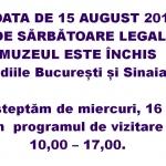 Programul muzeului în data de 15 august