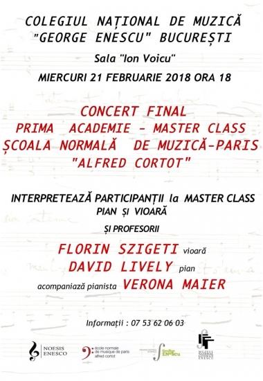 Concert Final - Master Class Școala Normală de Muzică, Paris