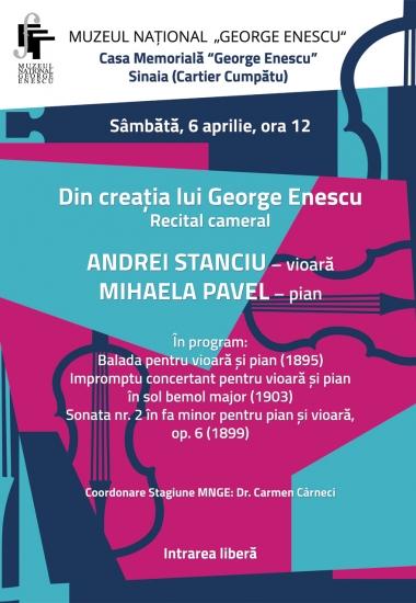 """Recital cameral """"Din creația lui George Enescu"""""""
