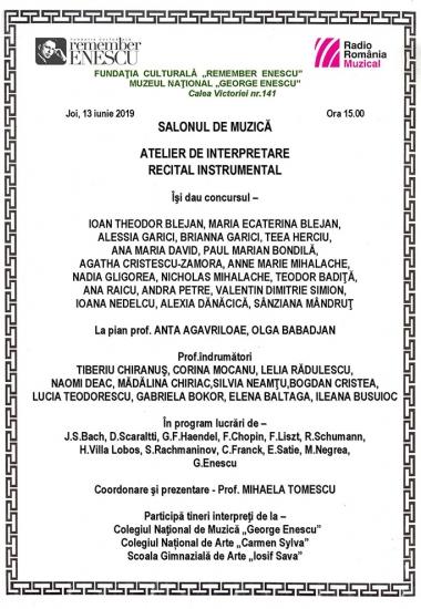 Recital instrumental / Atelier de interpretare