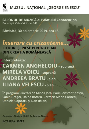 Înserare cu crizanteme... Lieduri și piese pentru pian din creația românească