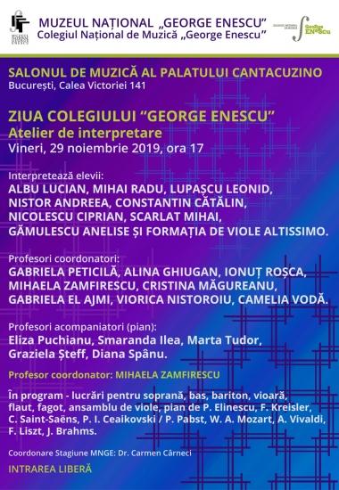 """ZIUA COLEGIULUI """"GEORGE ENESCU"""" / Atelier de interpretare"""