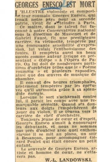 W. L. Landowski - « George Enescu a murit »