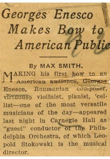Primele concerte susținute de Enescu în S.U.A.