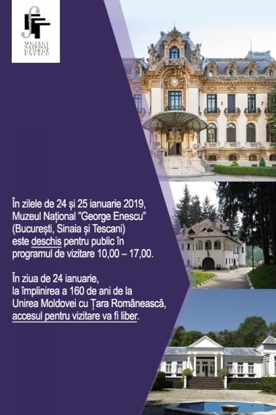 Programul muzeului în perioada 24-25 ianuarie 2019