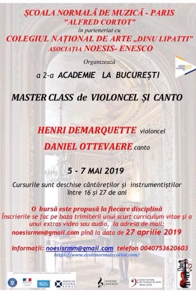 2 burse la Școala Normală de Muzică Paris acordate în cadrul celei de a 2-a Academii la București