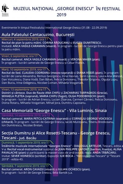 Evenimente în timpul Festivalului Internațional George Enescu (31.08 - 22.09.2019)