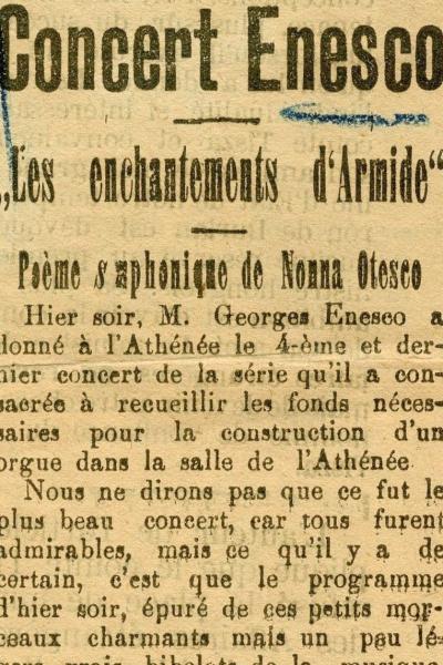 Concertele susţinute de Enescu pentru construirea orgii de la Ateneul Român