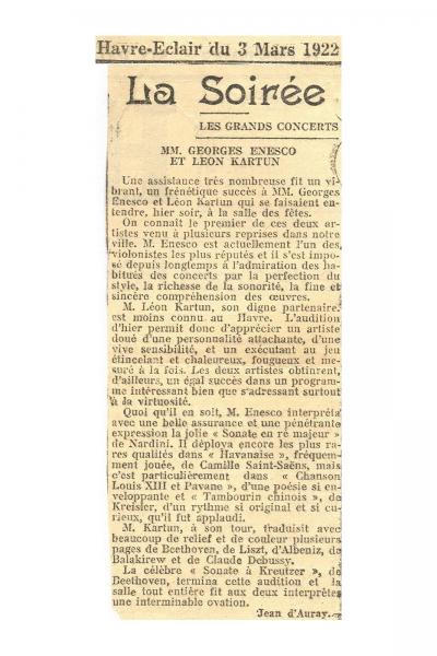 Recitalurile susţinute de George Enescu şi Léon Kartun în anul 1922