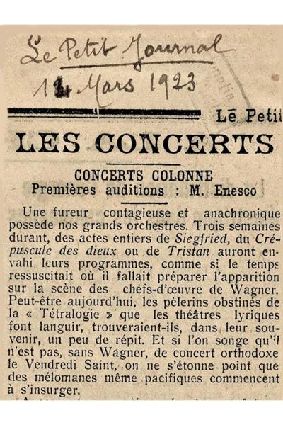 """Enescu - în triplă ipostază alături de Orchestra """"Colonne"""" - martie 1923 -"""