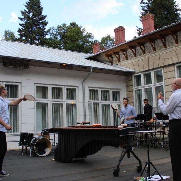 Imagini de la concertul susținut la finalul cursurilor de percuție de la Tescani din perioada 9 - 15 iulie 2018