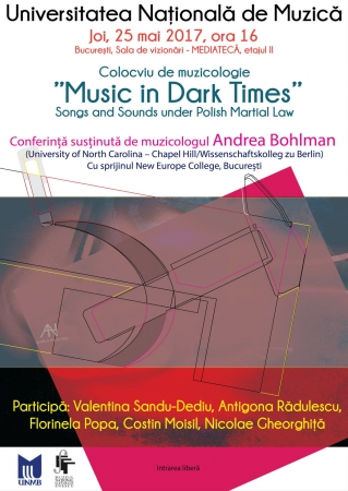 "Colocviu de muzicologie ""Music in Dark Times"""