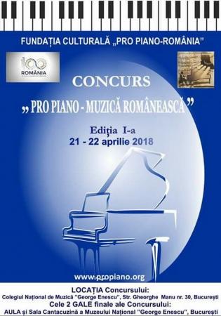 """Concursul: """"PRO PIANO - MUZICĂ ROMÂNEASCĂ"""""""
