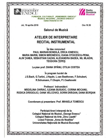Atelier de interpretare / Recital instrumental