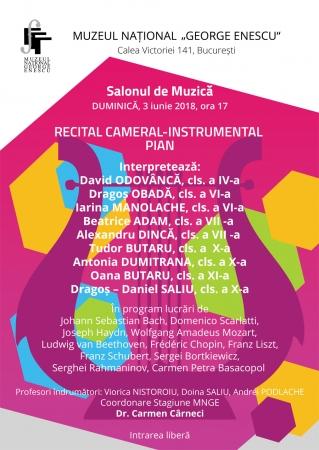 "Recital cameral -Tineri interpreți de la Colegiul Național de Muzică ""George Enescu"""