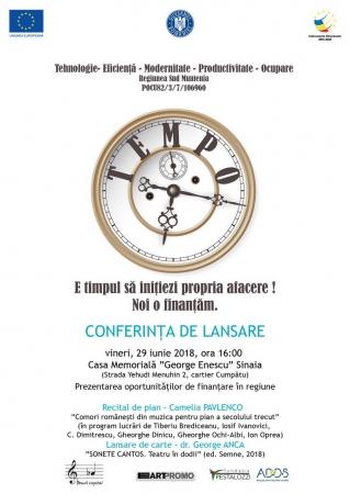 """Conferința de lansare a proiectului """"TEMPO – Tehnologie – Eficiență - Modernitate – Productivitate – Ocupare"""""""