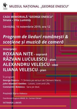 Program de lieduri românești & scoțiene și muzică de cameră