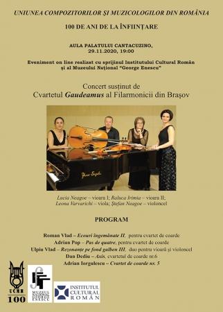 Concert susținut de Cvartetul Gaudeamus al Filarmonicii din Brașov