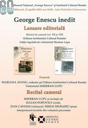 Enescu, inedit - Lansare de carte - Caietele Enescu VII/VIII